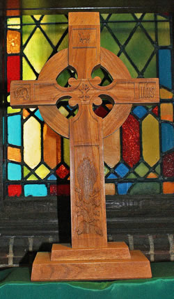 A symbol of our faith and Presbyterian heritage—carved by Dr. J. Russell Chandler.