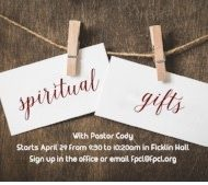 Spiritual Gifts Class with Pastor Cody – Starts April 29th